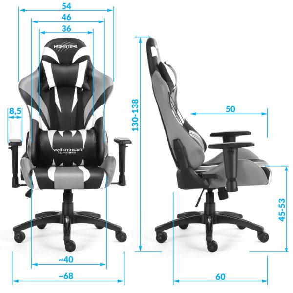 Wymiary fotela biurowego dla gracza Monster