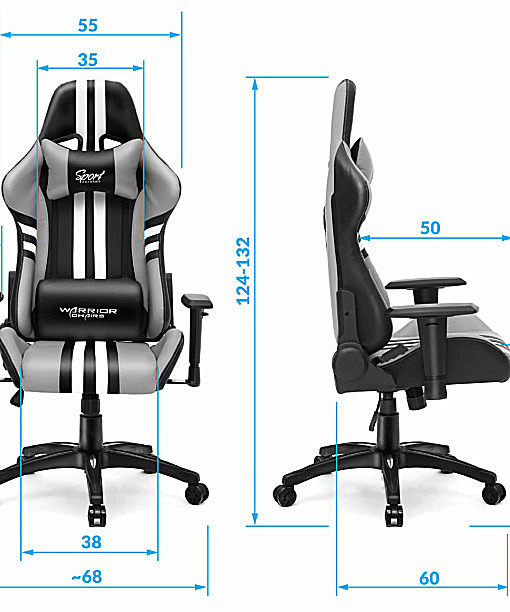 Wymiary krzesła komputerowego ergonomicznego Sport
