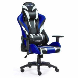 Bok i przód krzesła do gier komputerowych niebieskie Monster