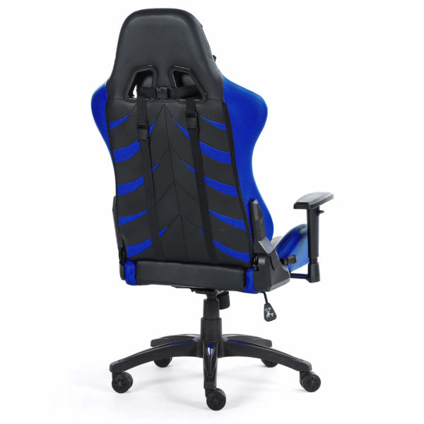 Tył niebieskiego krzesła do gier Monster