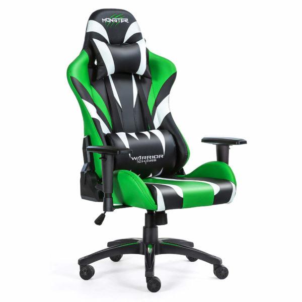Przód ergonomicznego zielonego fotela gamingowego Monster