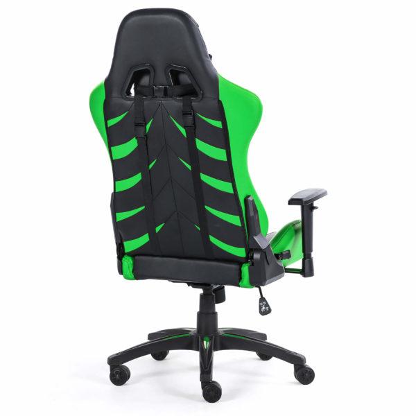 Tył fotela zielonego ergonomicznego do komputera Monster