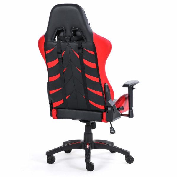 Tył czerwonego krzesła obrotowego dla gracza Monster