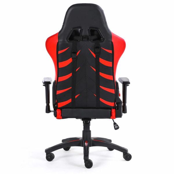 Tył czerwonego krzesła do komputera Monster