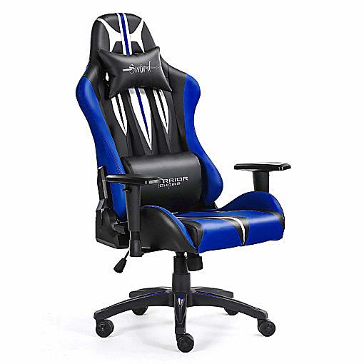 Przód i bok niebieskiego gamingowego krzesła Sword