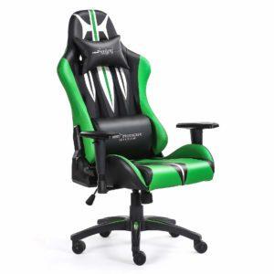Bok i przód zielonego krzesła do gier komputerowych Sword
