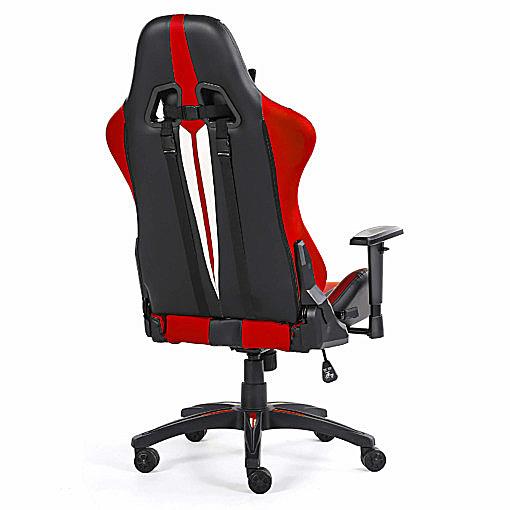 Tył czerwonego krzesła dla graczy Sword