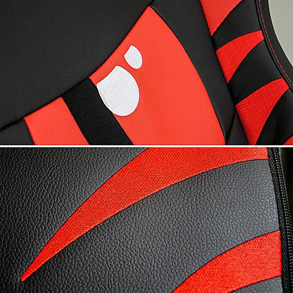 Detale krzesła do gier czerwone Dragon