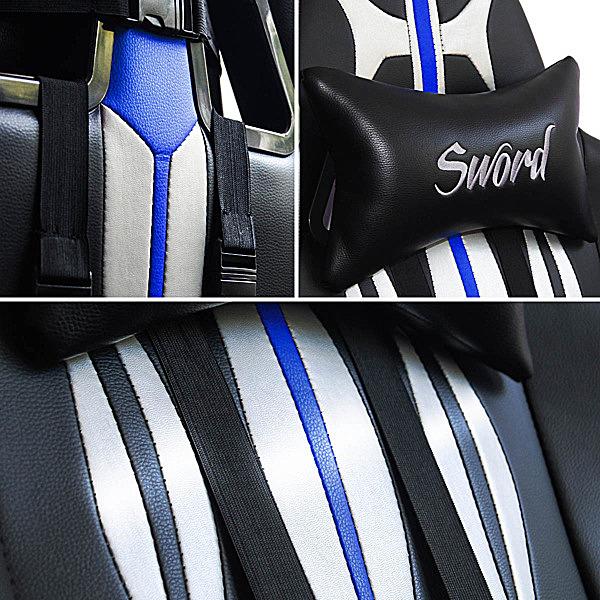 Detale gamingowego fotela niebieskiego Sword
