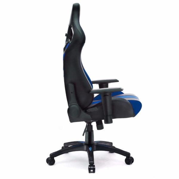 Bok niebieskiego krzesła do grania na komputerze Dragon