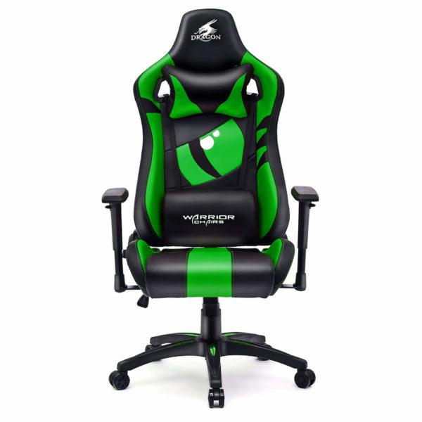 Zielony fotel do grania na komputerze Dragon