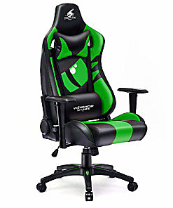 Przód i bok zielonego fotela obrotowego gamingowego Dragon