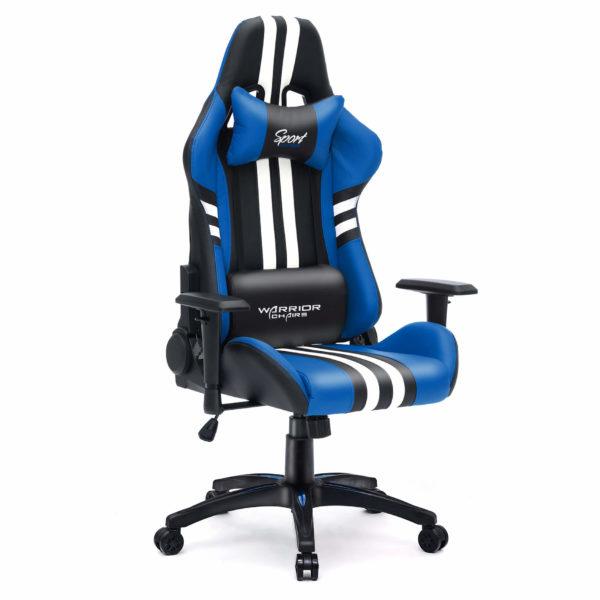 Niebieski fotel do grania na komputerze Sport