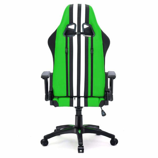 Zielone krzesło gamerskie od tyłu Sport