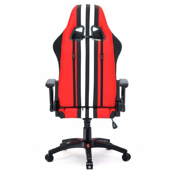 Tył czerwonego dobrego krzesła do komputera Sport
