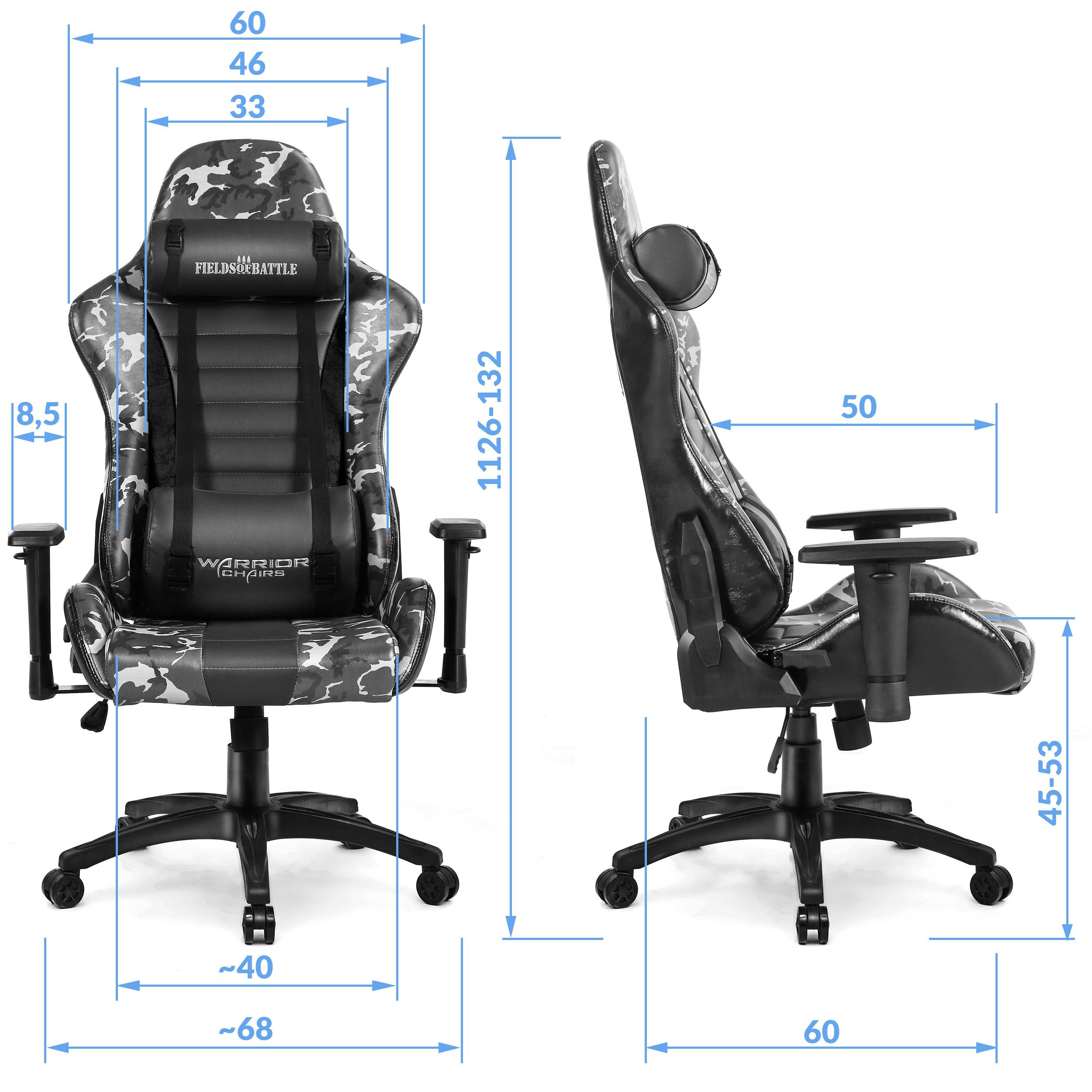 Wymiary krzesła do gamingu Fields of battle