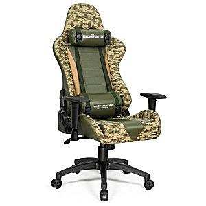 Przód i bok krzesła biurowego gamingowego Fields of battle